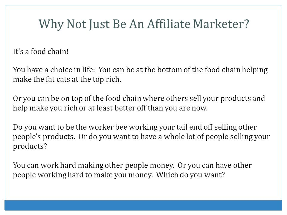 Why Not Just Be An Affiliate Marketer