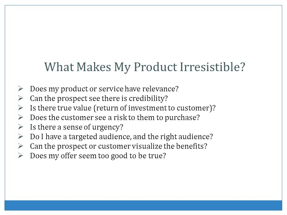 What Makes My Product Irresistible