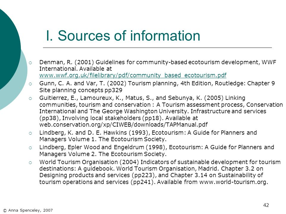 I. Sources of information