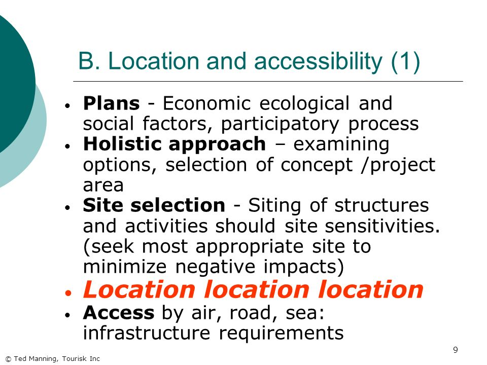 B. Location and accessibility (1)