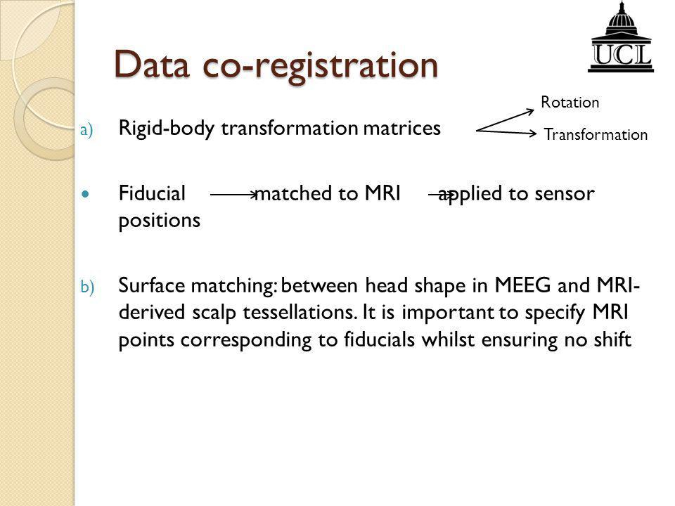Data co-registration Rigid-body transformation matrices