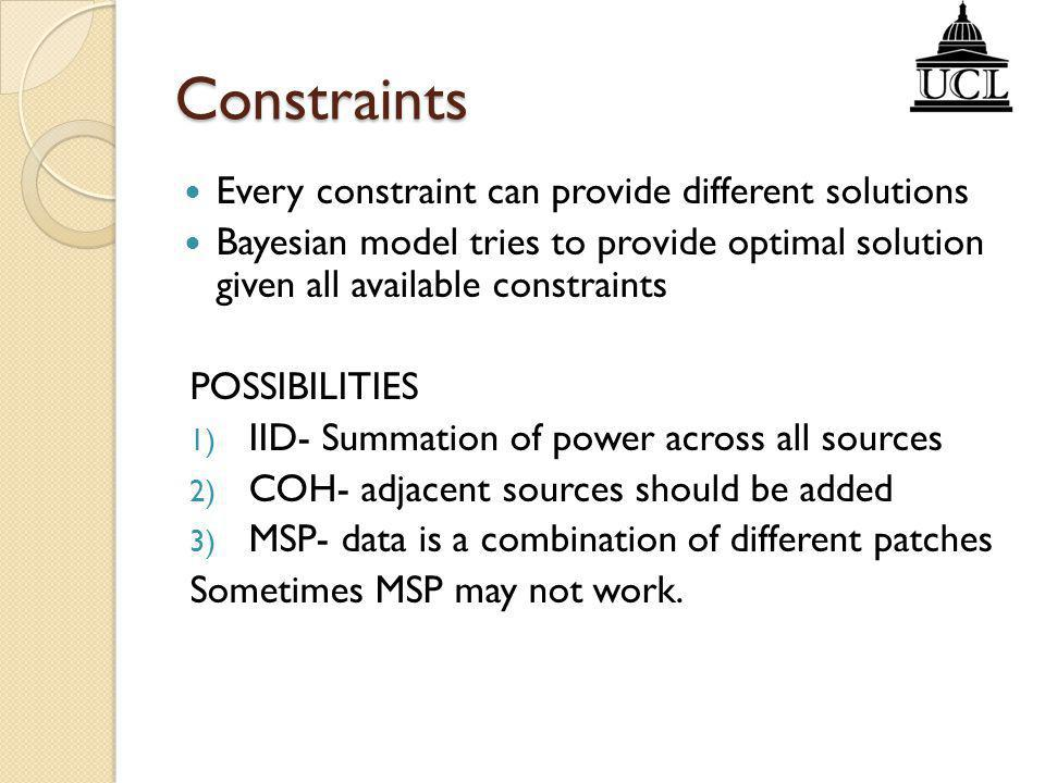 Constraints Every constraint can provide different solutions
