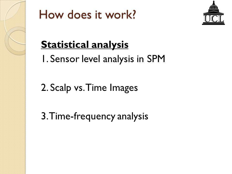 How does it work. Statistical analysis 1. Sensor level analysis in SPM 2.