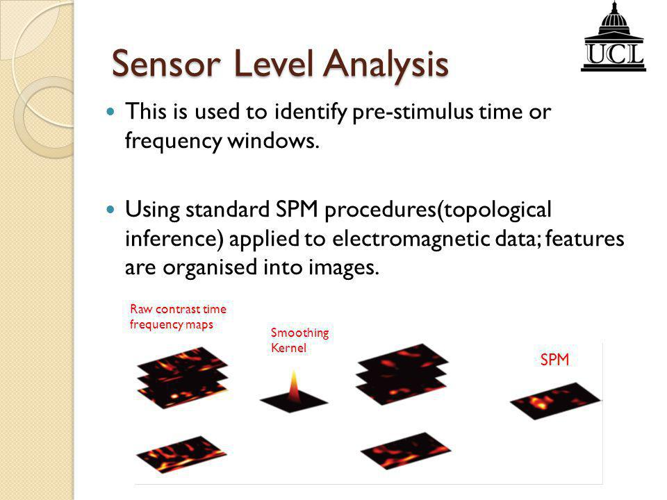 Sensor Level Analysis This is used to identify pre-stimulus time or frequency windows.