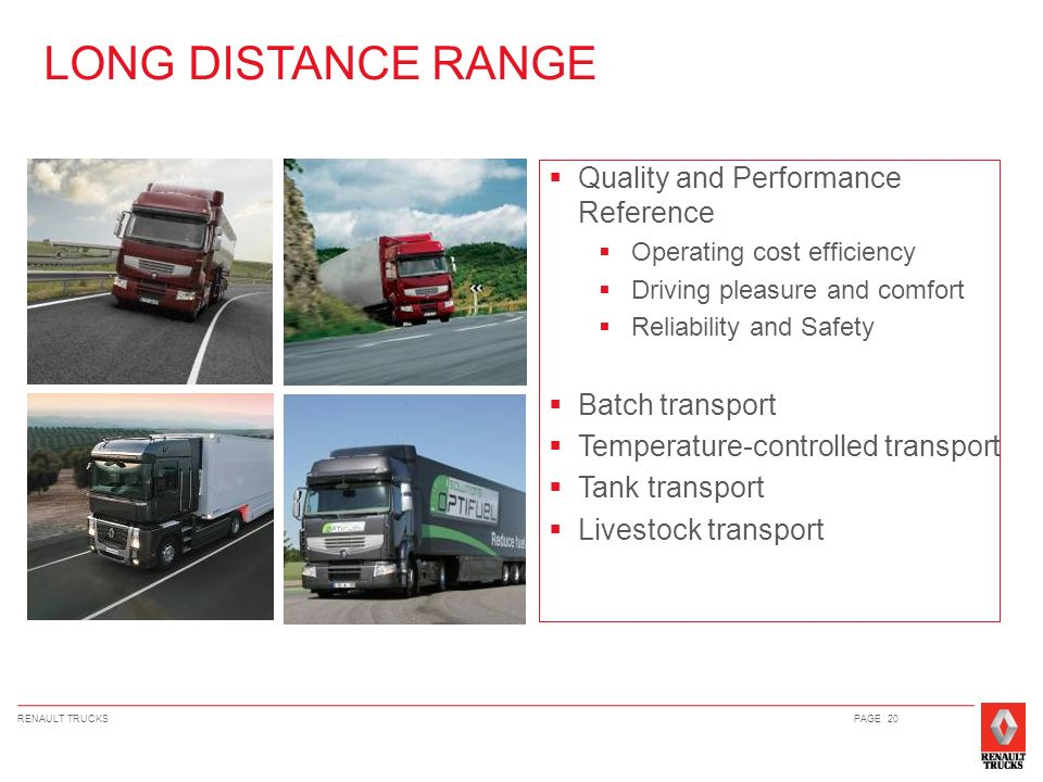 LONG DISTANCE RANGE Quality and Performance Reference Batch transport