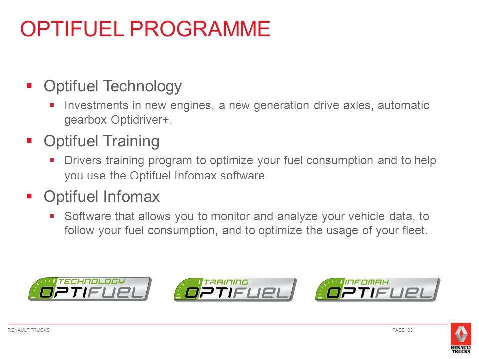 OPTIFUEL PROGRAMME Optifuel Technology Optifuel Training