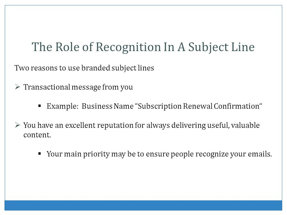 The Role of Recognition In A Subject Line