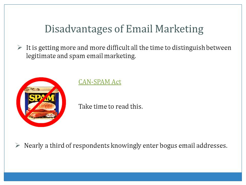 Disadvantages of Email Marketing