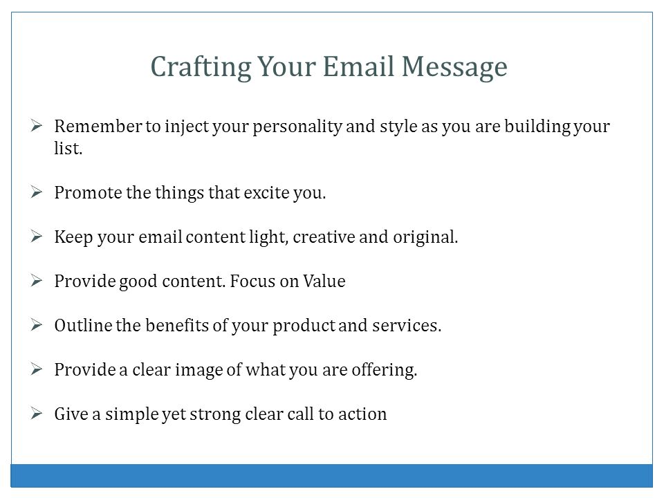 Crafting Your Email Message