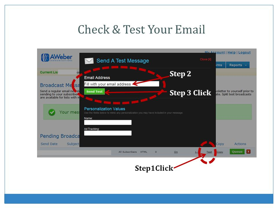 Check & Test Your Email Step 2 Step 3 Click Step1Click