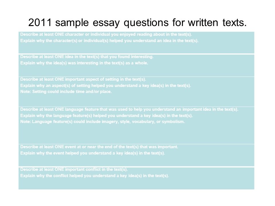 2011 sample essay questions for written texts.
