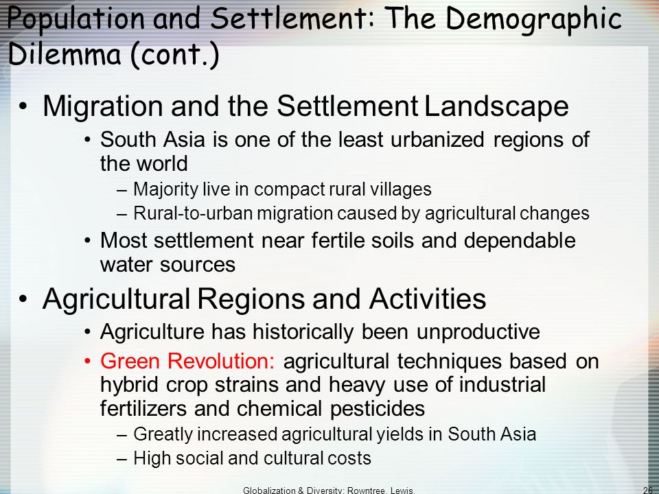 Population and Settlement: The Demographic Dilemma (cont.)