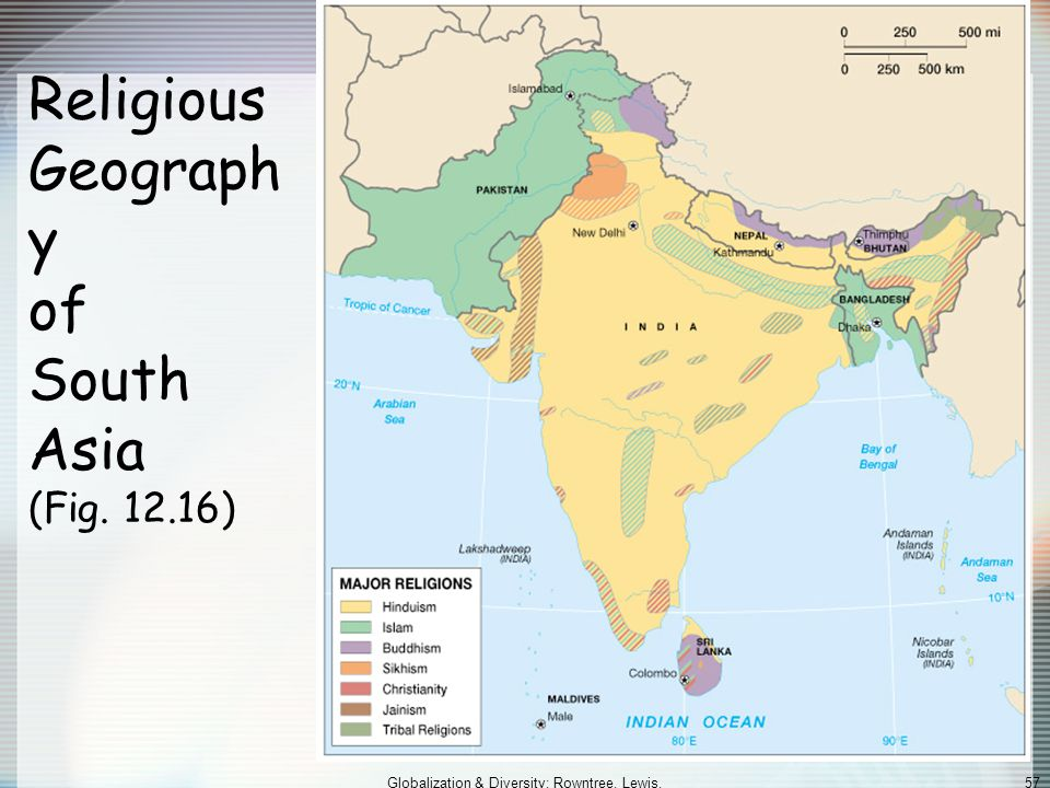 Religious Geography of South Asia (Fig. 12.16)