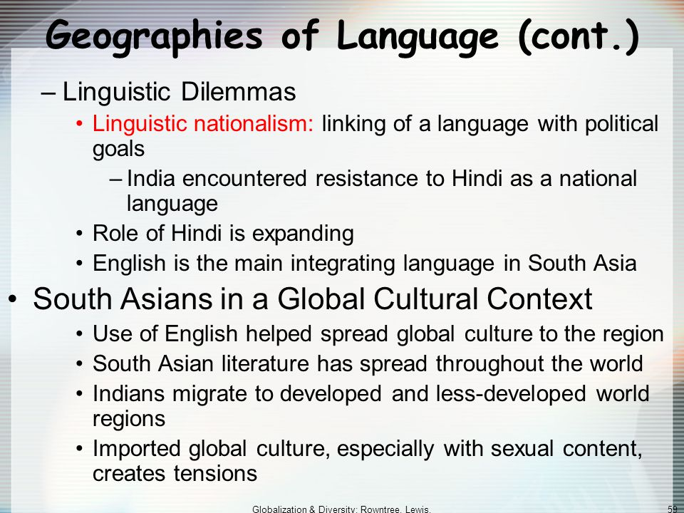 Geographies of Language (cont.)