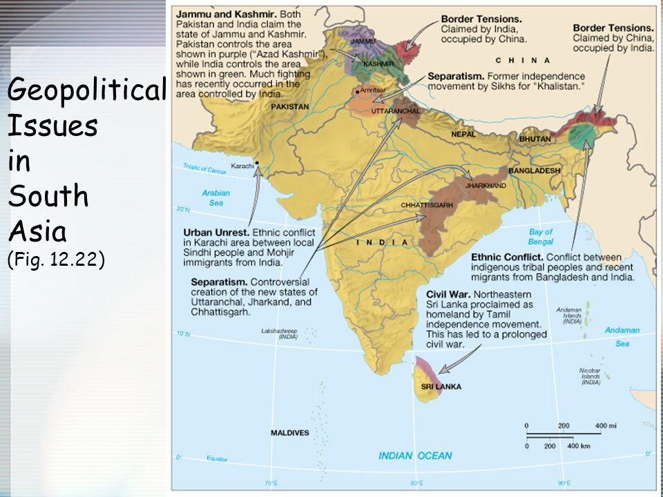 Geopolitical Issues in South Asia (Fig. 12.22)