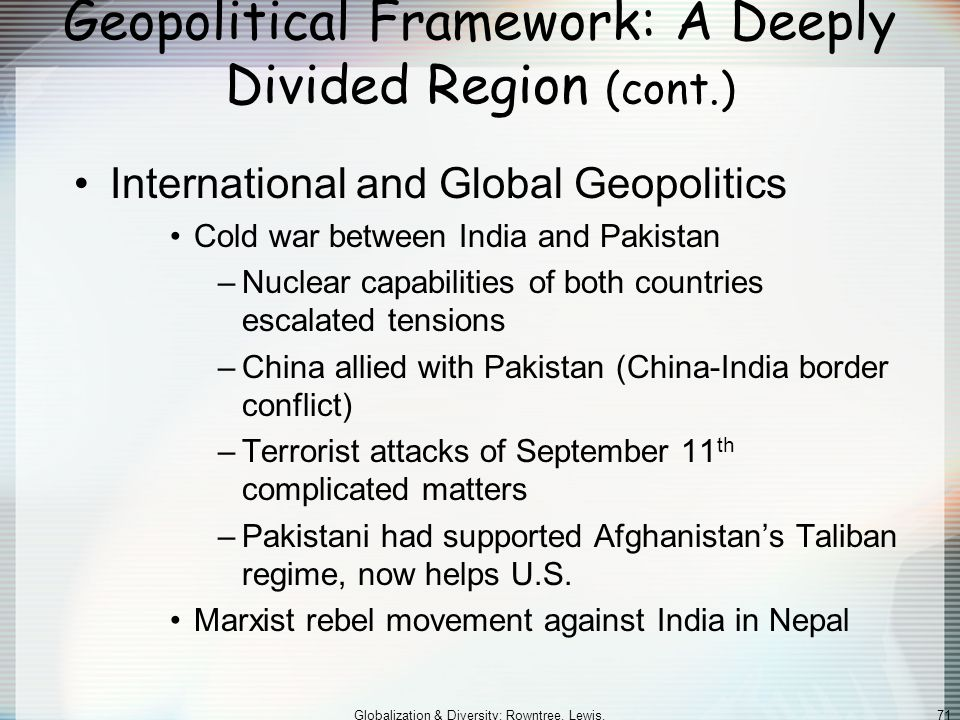 Geopolitical Framework: A Deeply Divided Region (cont.)