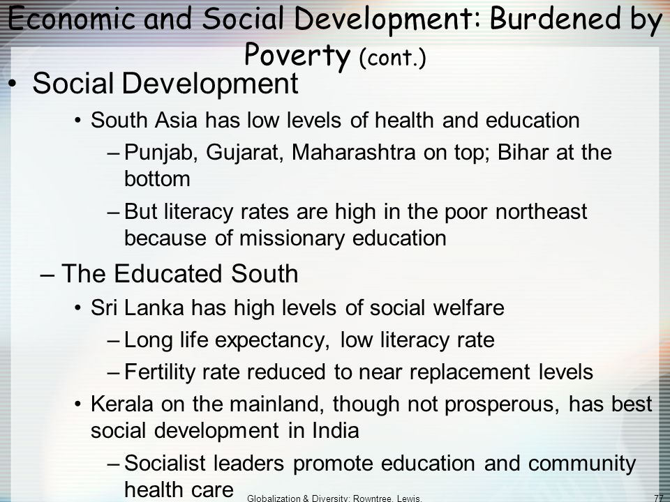 Economic and Social Development: Burdened by Poverty (cont.)