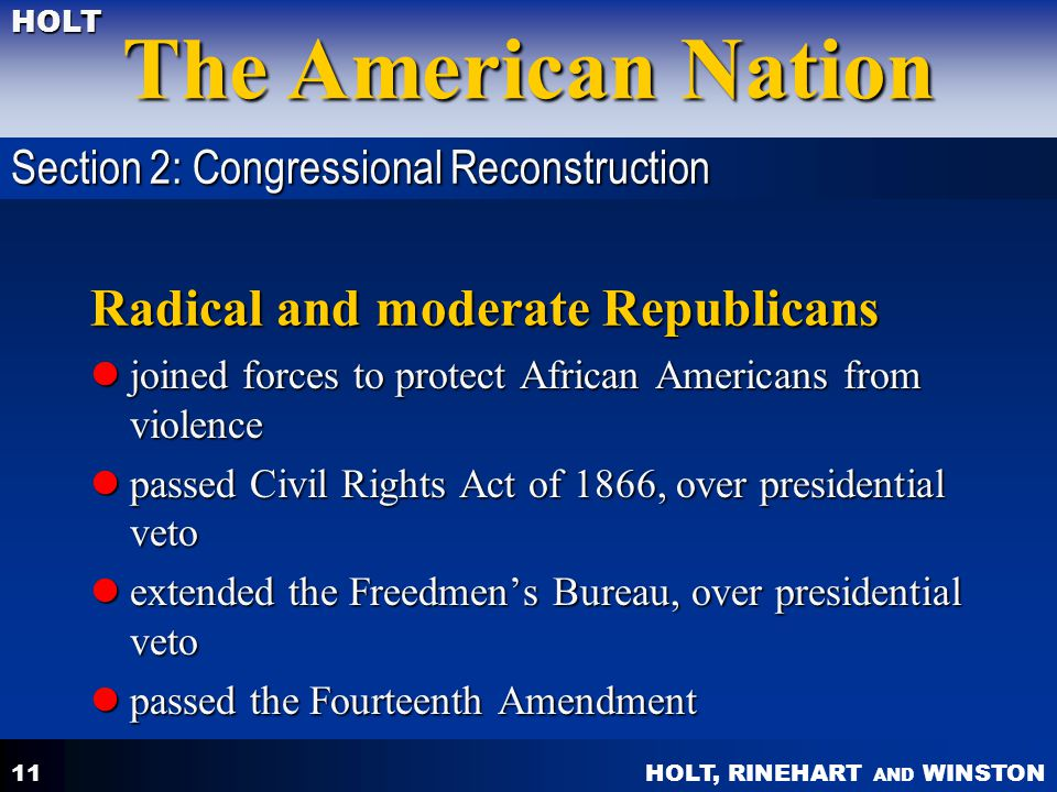 Radical and moderate Republicans