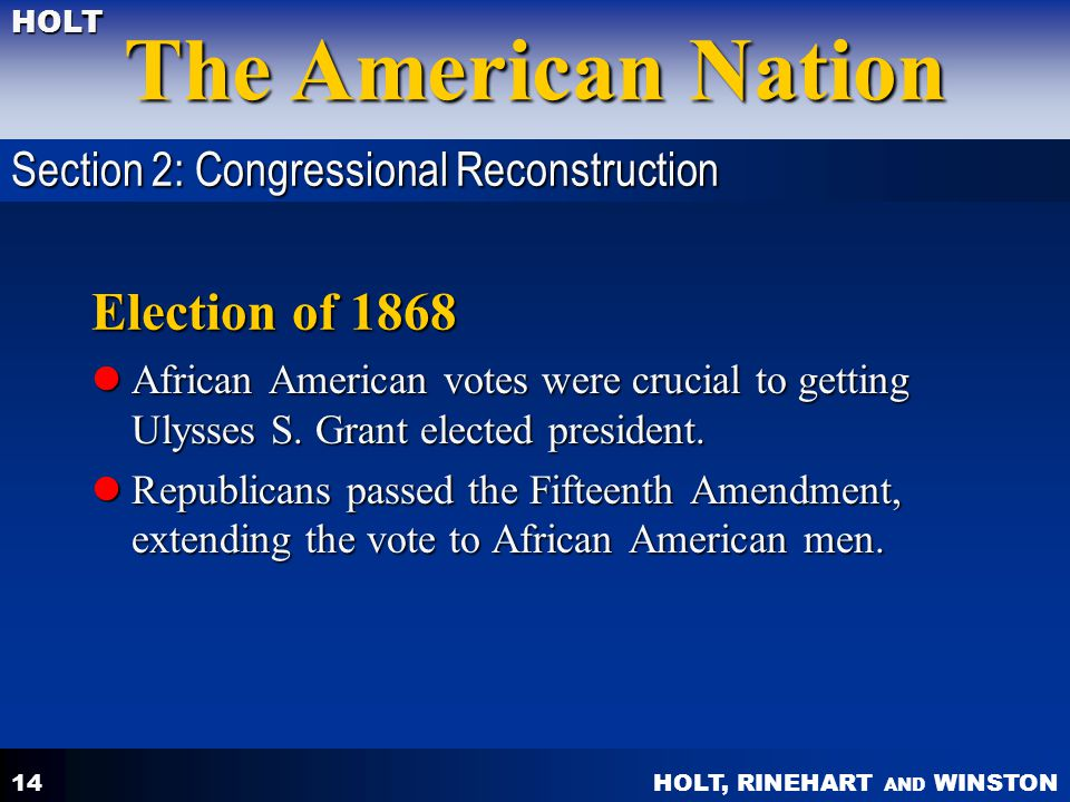 Election of 1868 Section 2: Congressional Reconstruction