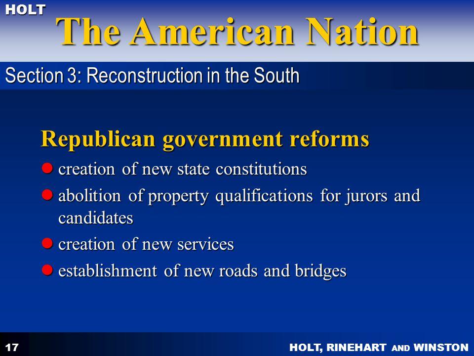 Republican government reforms