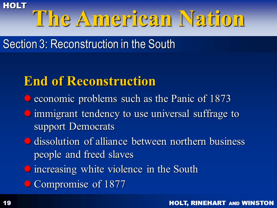 End of Reconstruction Section 3: Reconstruction in the South