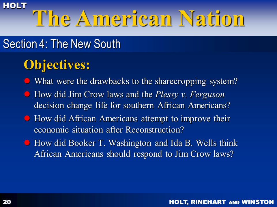 Objectives: Section 4: The New South
