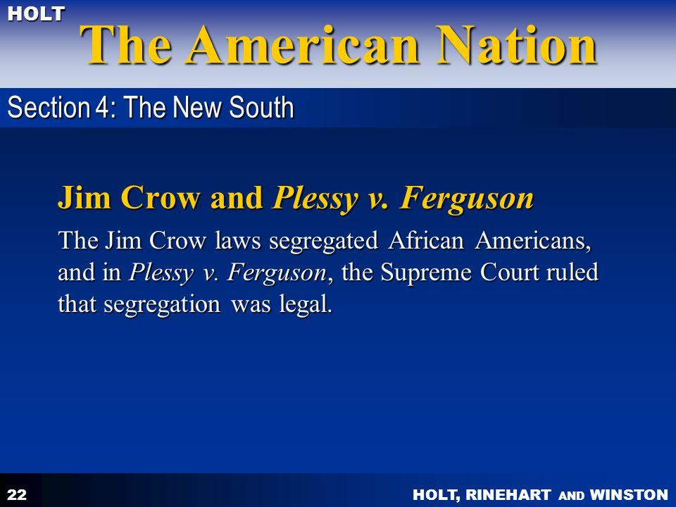 Jim Crow and Plessy v. Ferguson