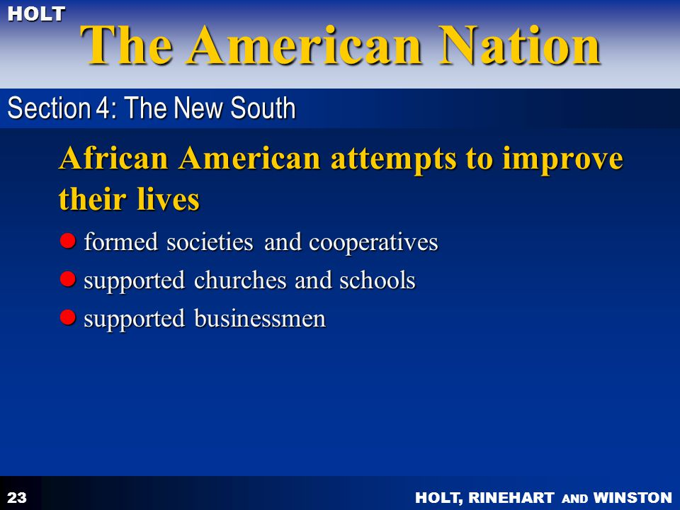African American attempts to improve their lives