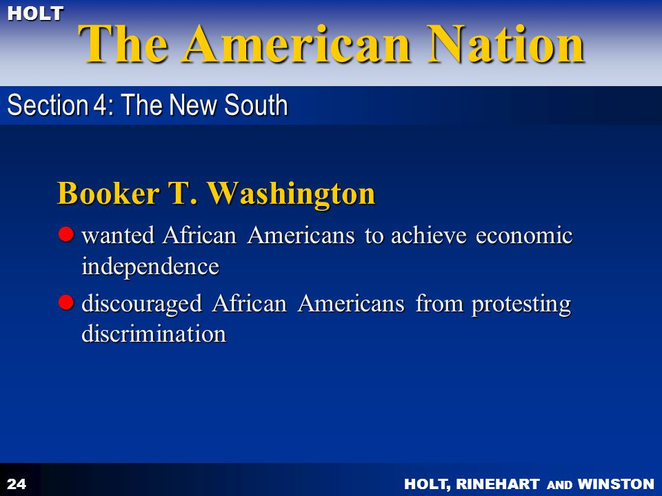 Booker T. Washington Section 4: The New South