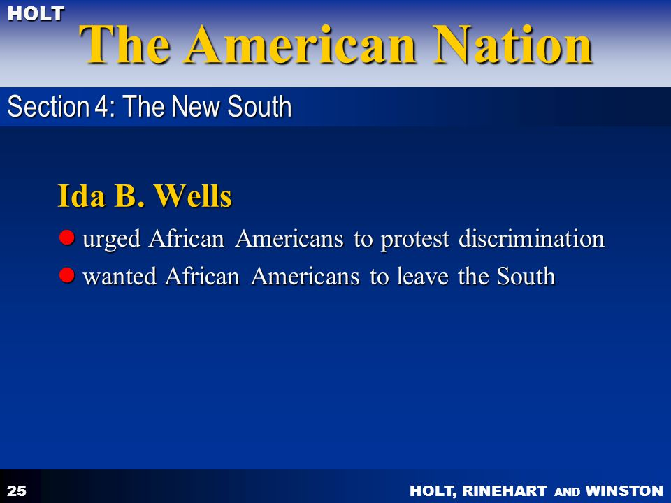 Ida B. Wells Section 4: The New South