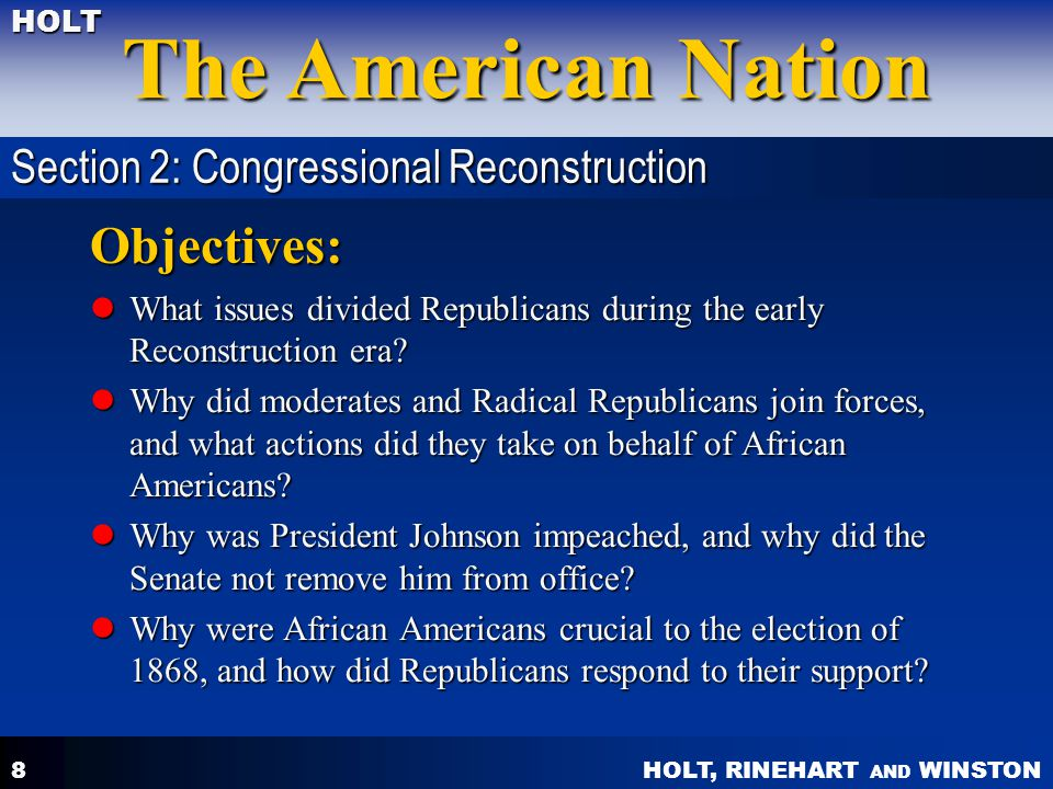 Objectives: Section 2: Congressional Reconstruction
