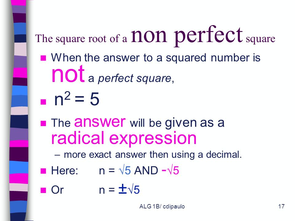 The square root of a non perfect square