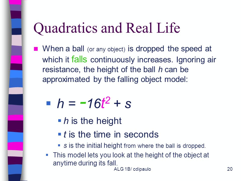 Quadratics and Real Life