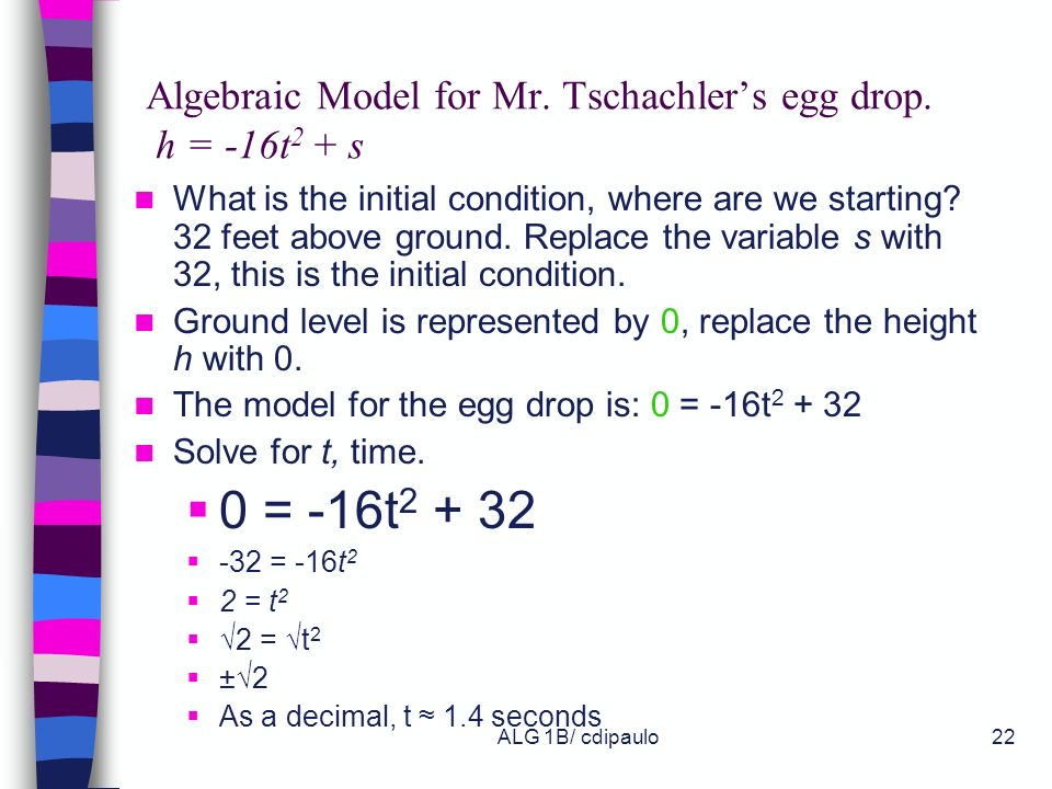 Algebraic Model for Mr. Tschachler's egg drop. h = -16t2 + s