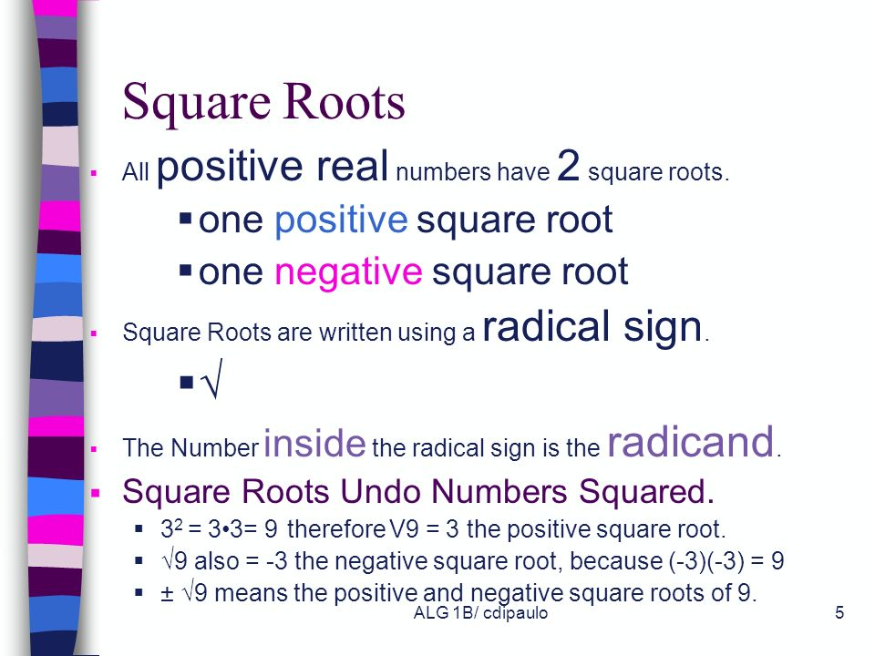 Square Roots √ one positive square root one negative square root