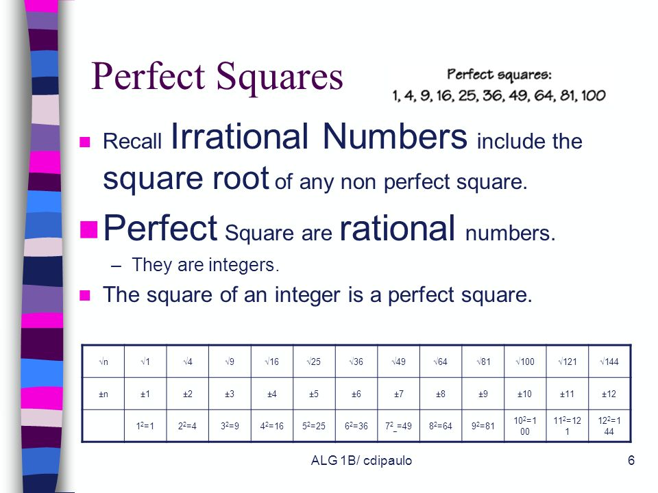 Perfect Squares Perfect Square are rational numbers.