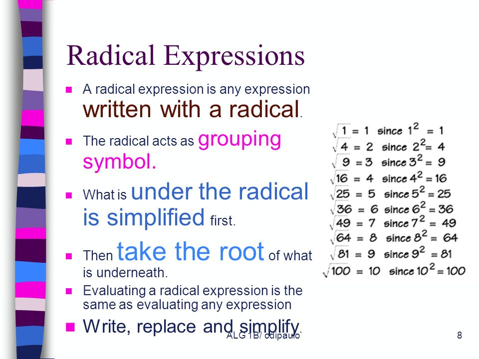 Radical Expressions Write, replace and simplify.