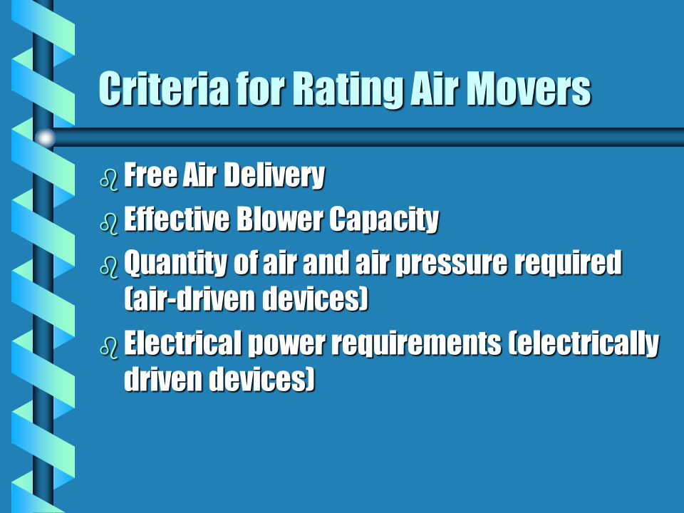 Criteria for Rating Air Movers