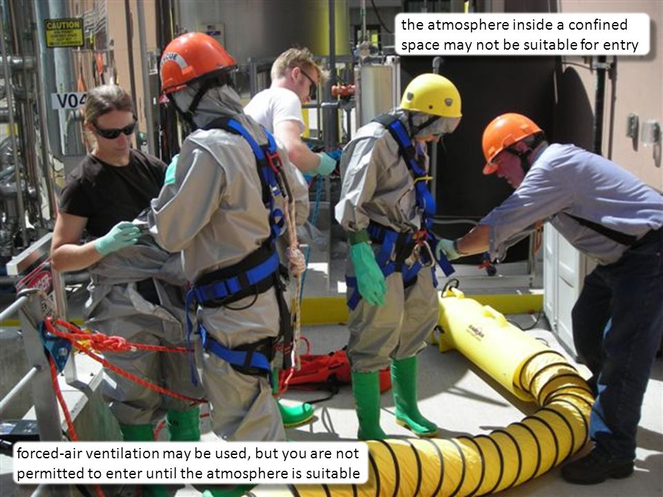 the atmosphere inside a confined space may not be suitable for entry