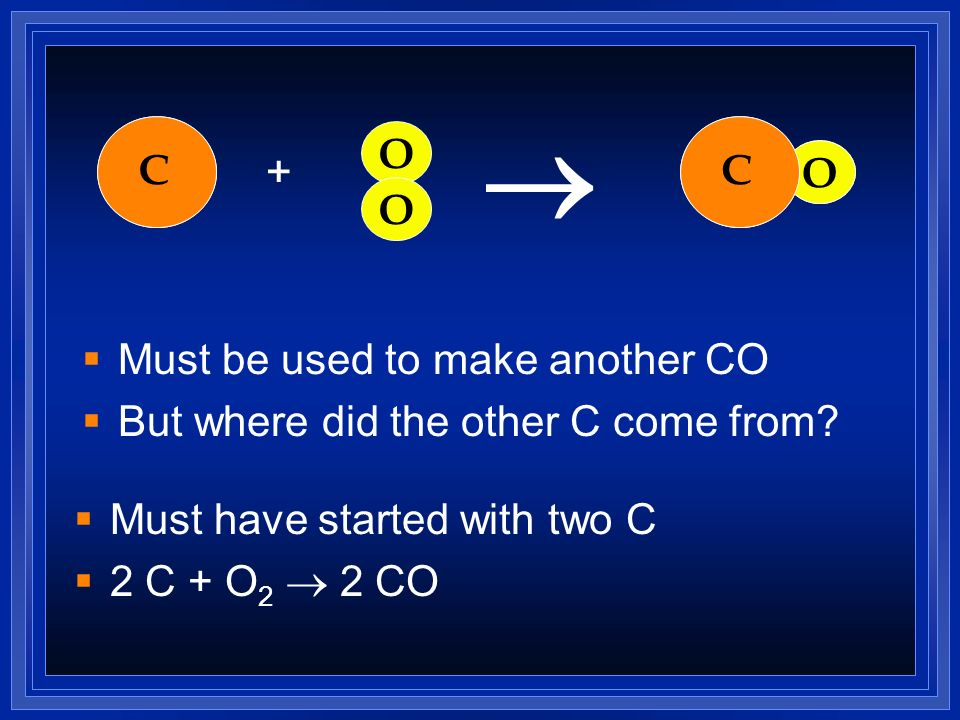 ® C C O C O C O + O Must be used to make another CO