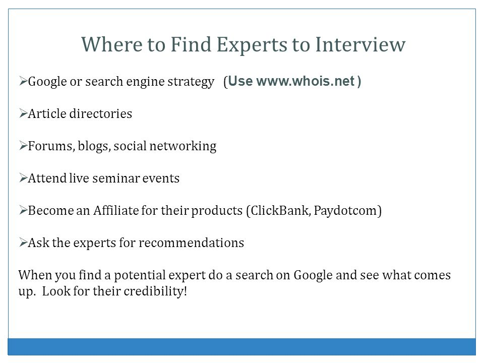 Where to Find Experts to Interview