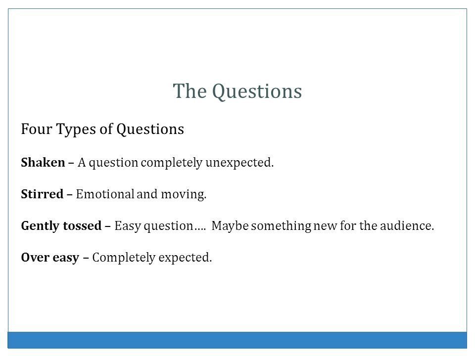 The Questions Four Types of Questions
