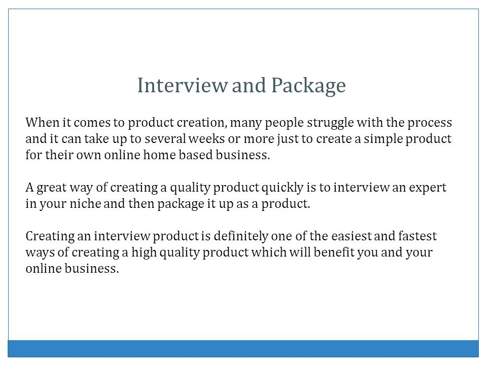 Interview and Package