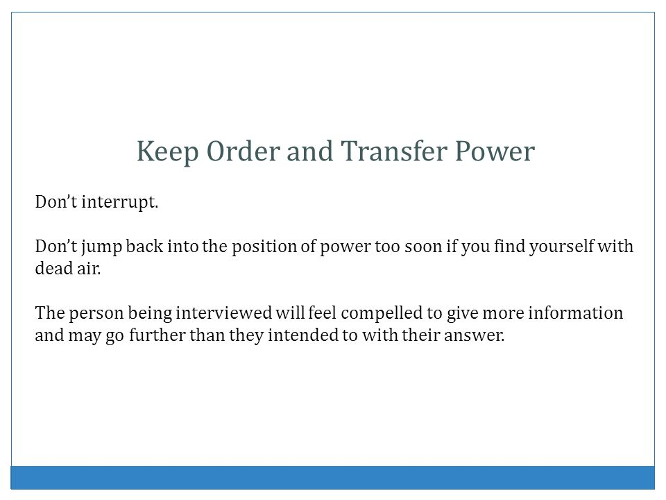 Keep Order and Transfer Power