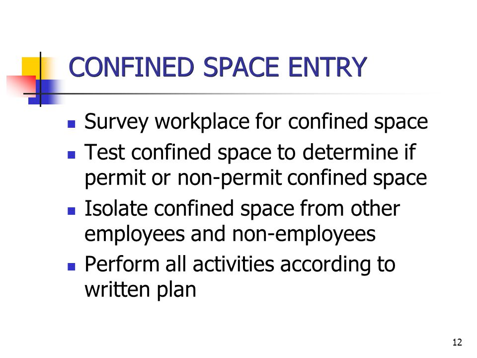 CONFINED SPACE ENTRY Survey workplace for confined space