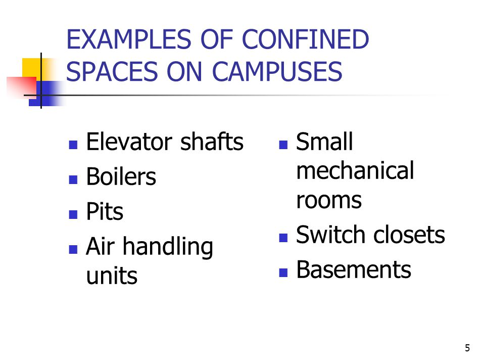 EXAMPLES OF CONFINED SPACES ON CAMPUSES
