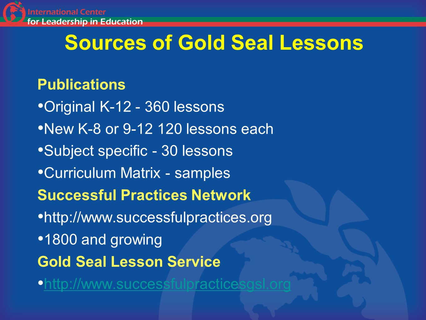 Sources of Gold Seal Lessons