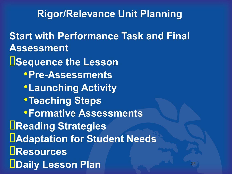 Rigor/Relevance Unit Planning