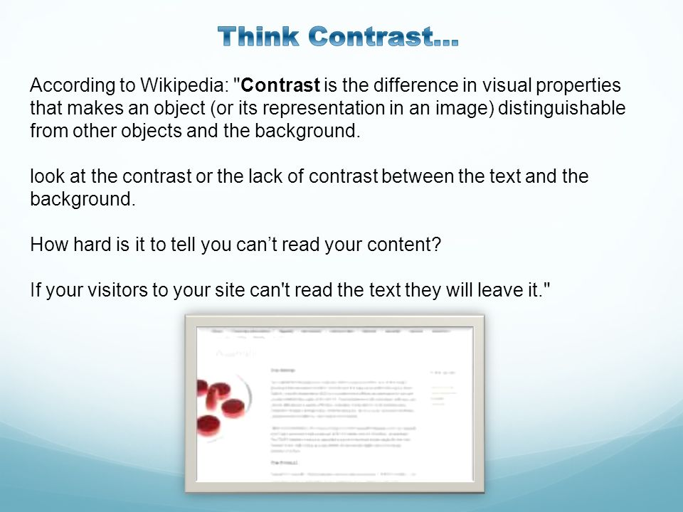 Think Contrast…