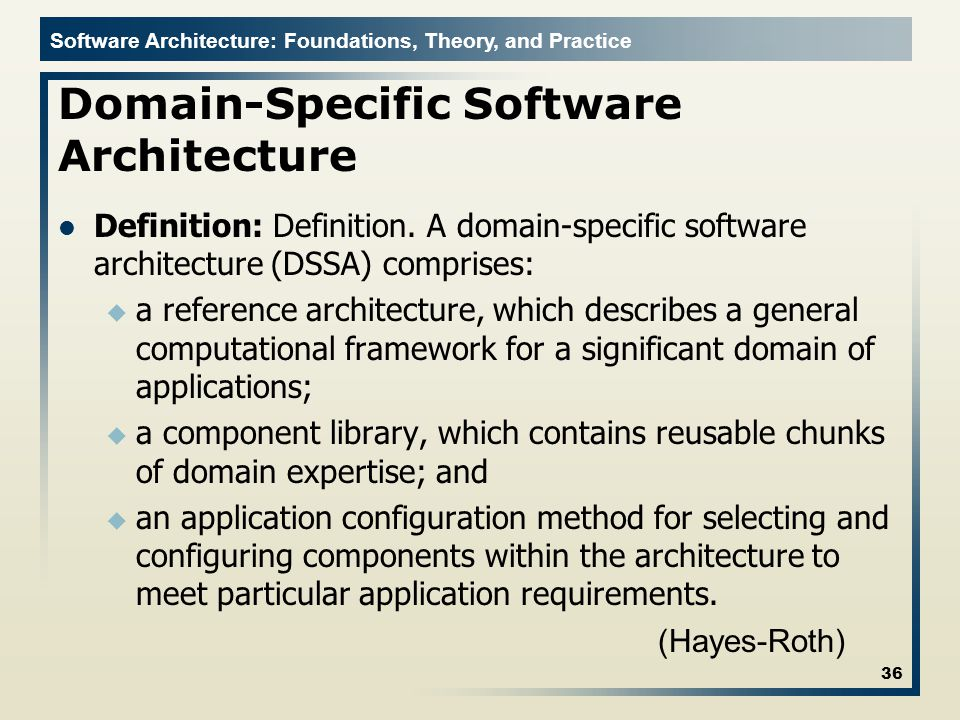 Intro to domain specific software engineering ppt download for Anarchitecture definition